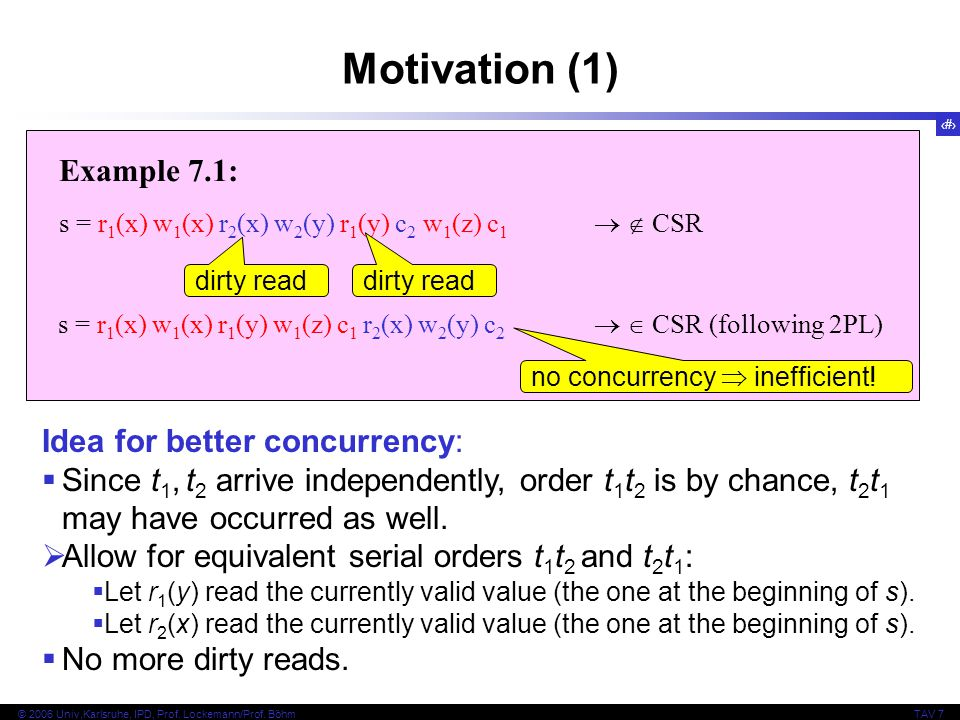 Motivation (1) Example 7.1: Idea for better concurrency: