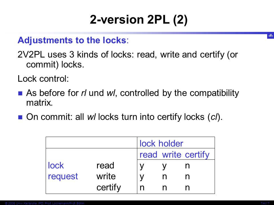 2-version 2PL (2) Adjustments to the locks: