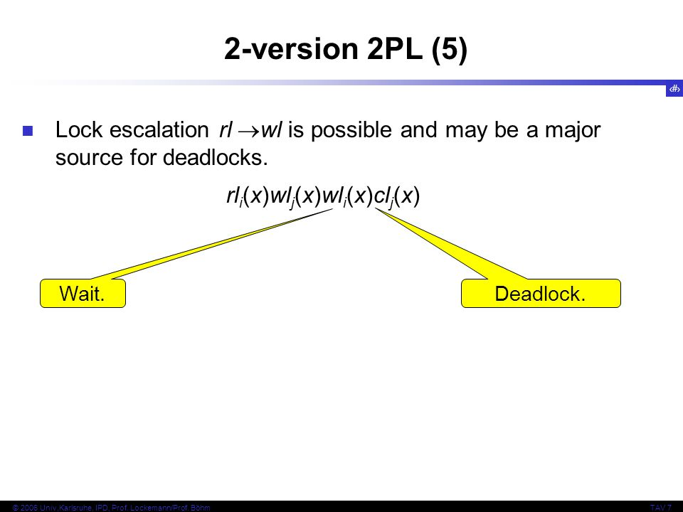 2-version 2PL (5) Lock escalation rl wl is possible and may be a major source for deadlocks. rli(x)wlj(x)wli(x)clj(x)