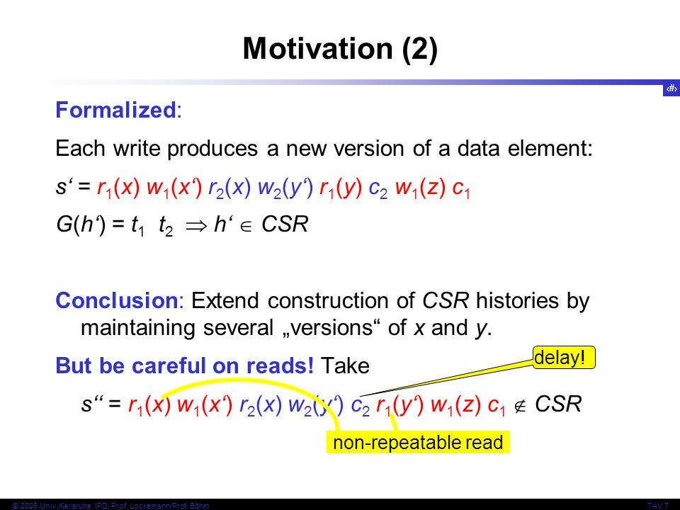 Motivation (2) Formalized: