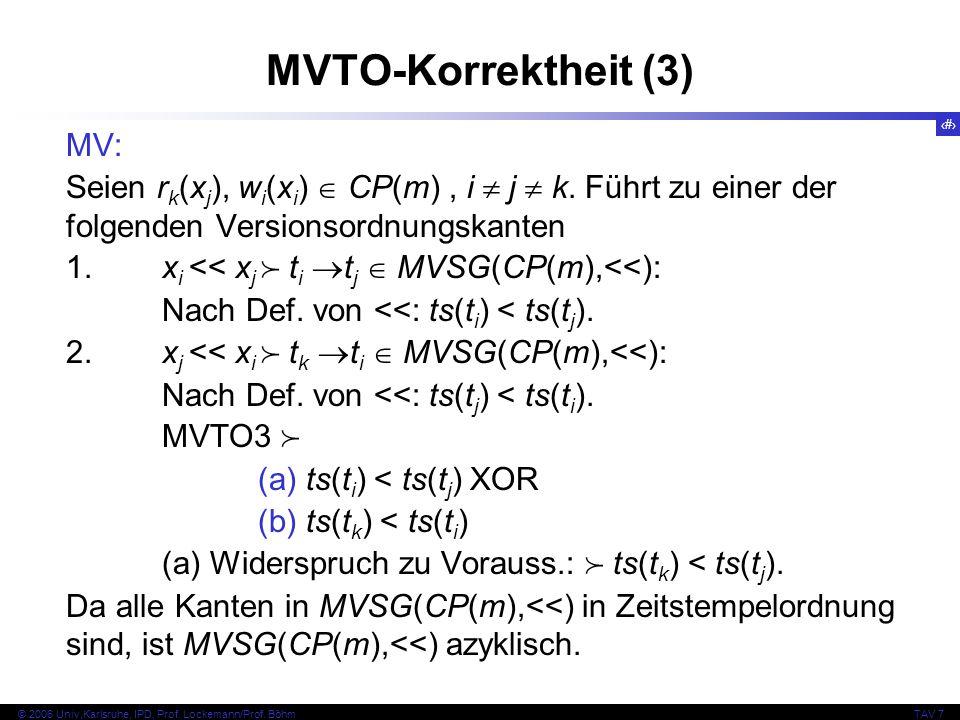 MVTO-Korrektheit (3) MV: