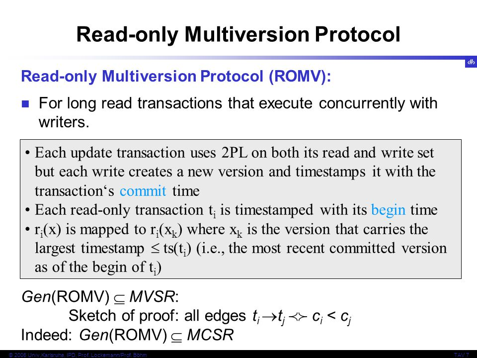 Read-only Multiversion Protocol