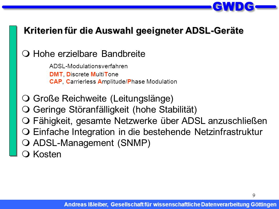 Kriterien für die Auswahl geeigneter ADSL-Geräte