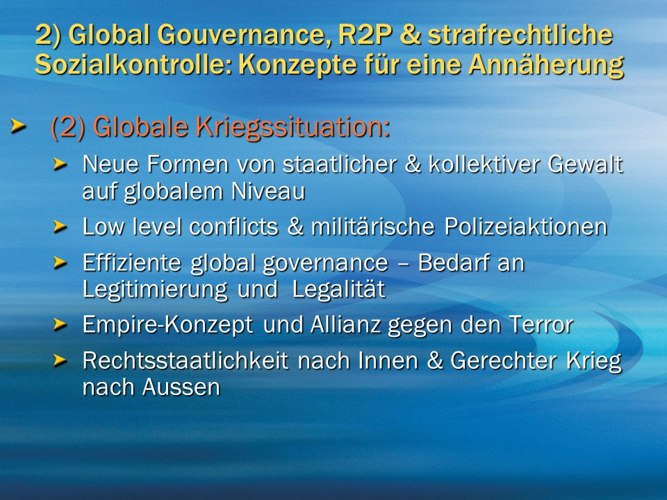 (2) Globale Kriegssituation: