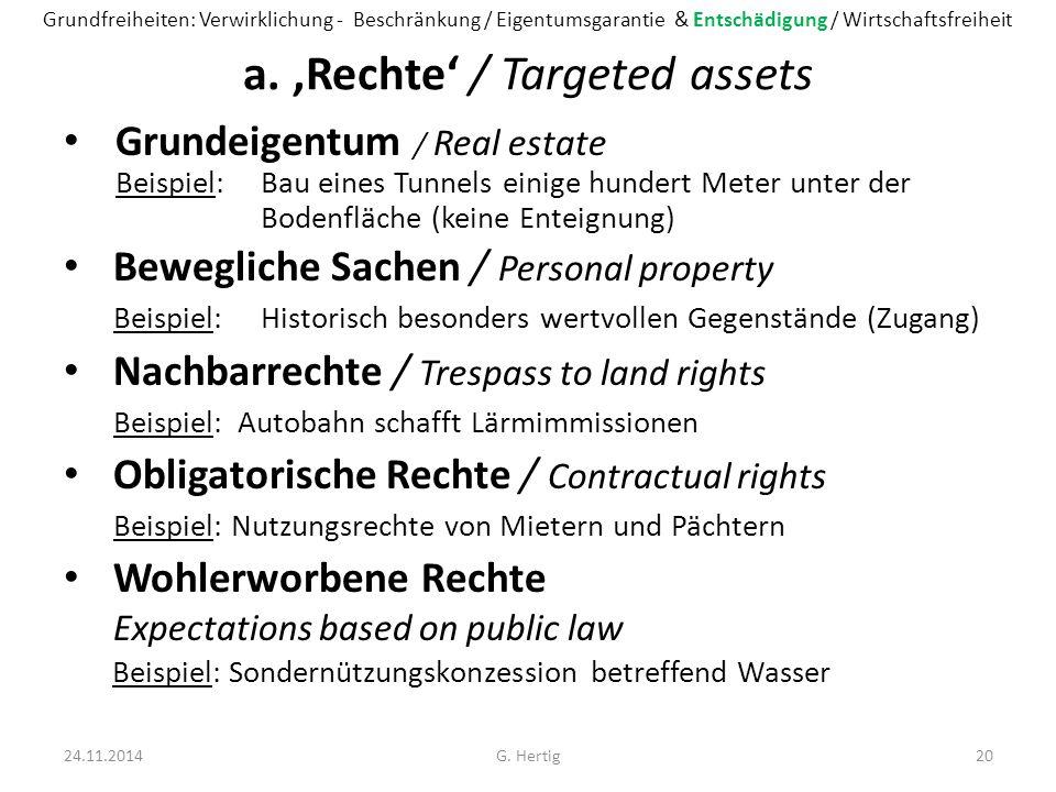 a. 'Rechte' / Targeted assets