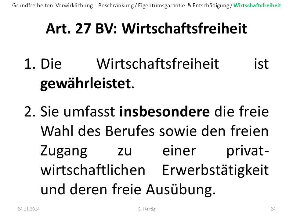 Art. 27 BV: Wirtschaftsfreiheit