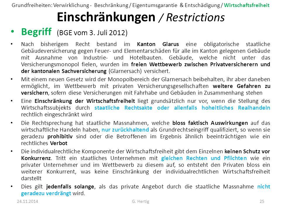 Einschränkungen / Restrictions