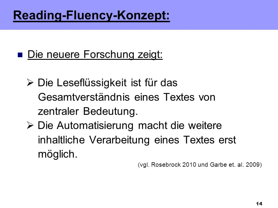 Reading-Fluency-Konzept:
