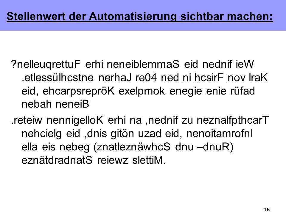 Stellenwert der Automatisierung sichtbar machen: