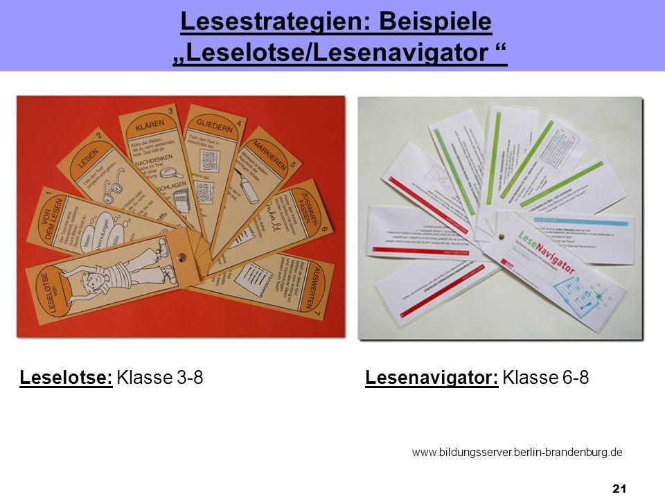 "Lesestrategien: Beispiele ""Leselotse/Lesenavigator"