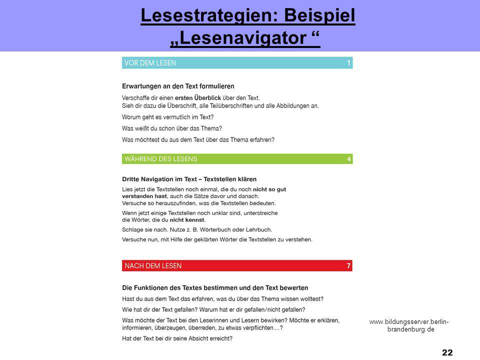 "Lesestrategien: Beispiel ""Lesenavigator"