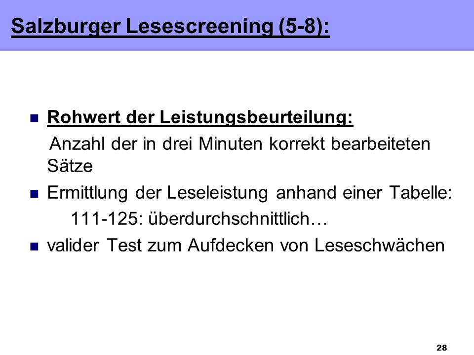 Salzburger Lesescreening (5-8):