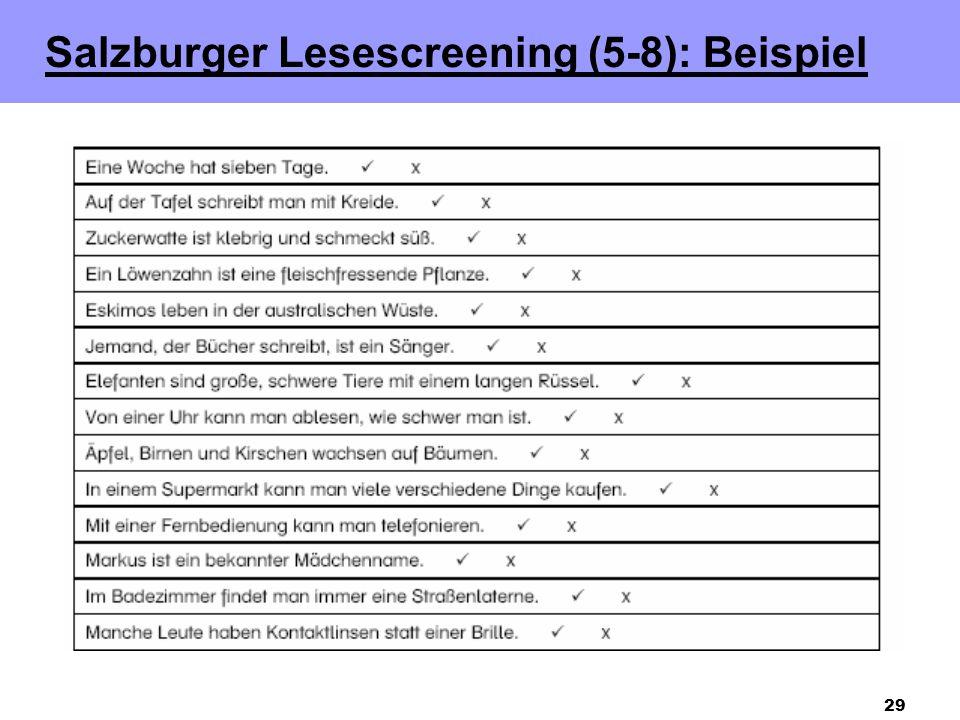 Salzburger Lesescreening (5-8): Beispiel