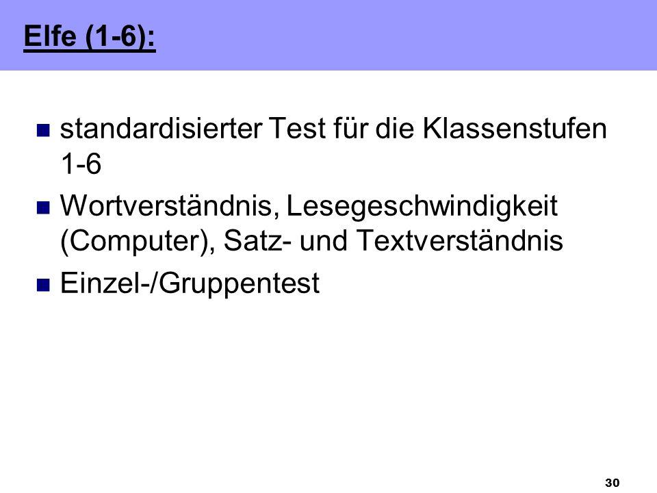 Elfe (1-6): standardisierter Test für die Klassenstufen 1-6. Wortverständnis, Lesegeschwindigkeit (Computer), Satz- und Textverständnis.