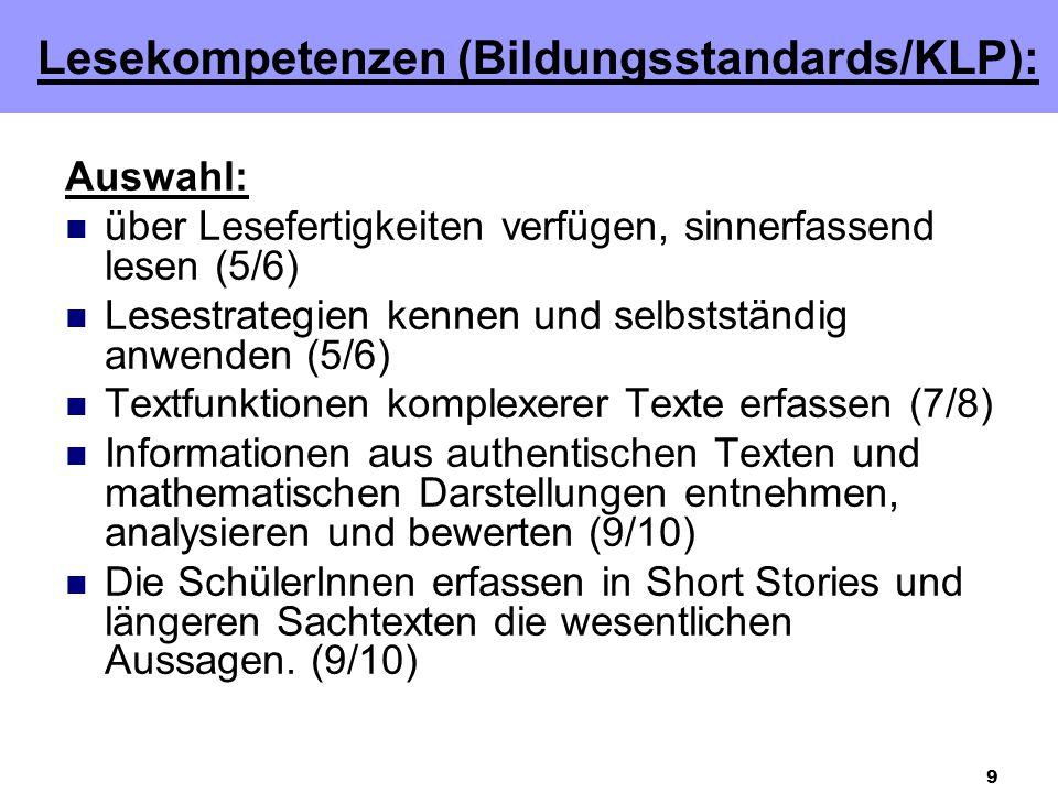 Lesekompetenzen (Bildungsstandards/KLP):