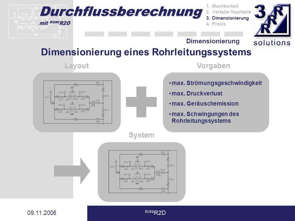 Dimensionierung eines Rohrleitungssystems
