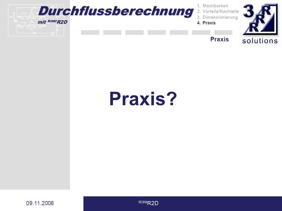 Praxis Praxis 09.11.2006 RONIR2D Machbarkeit Vorteile/Nachteile