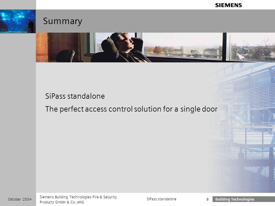 Summary SiPass standalone