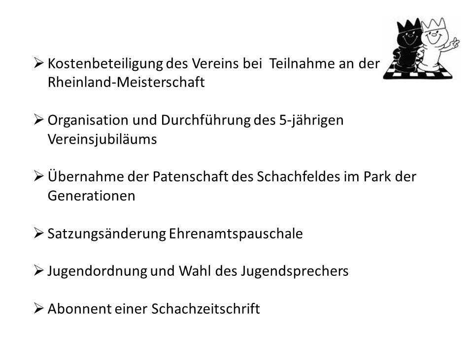 Kostenbeteiligung des Vereins bei Teilnahme an der Rheinland-Meisterschaft