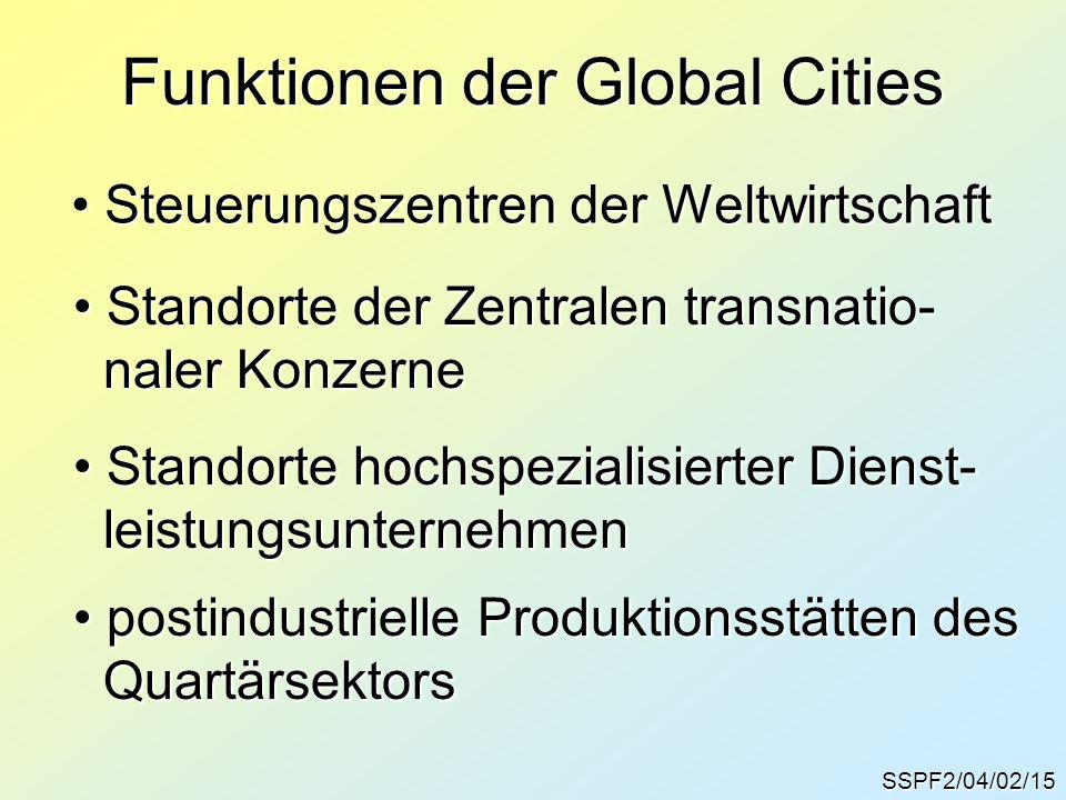 Funktionen der Global Cities