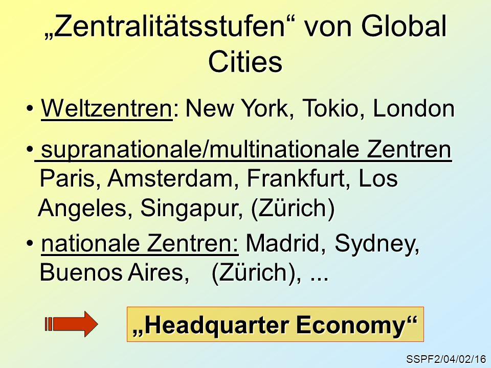 """""""Zentralitätsstufen von Global Cities"""