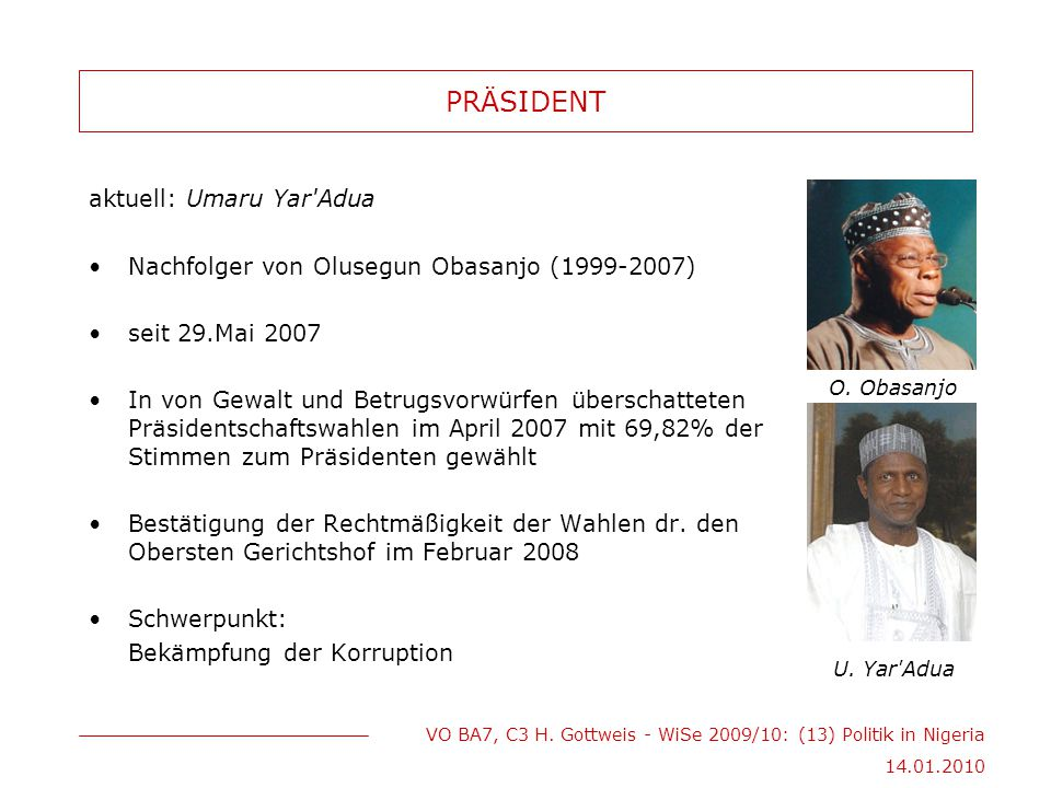 PRÄSIDENT aktuell: Umaru Yar Adua
