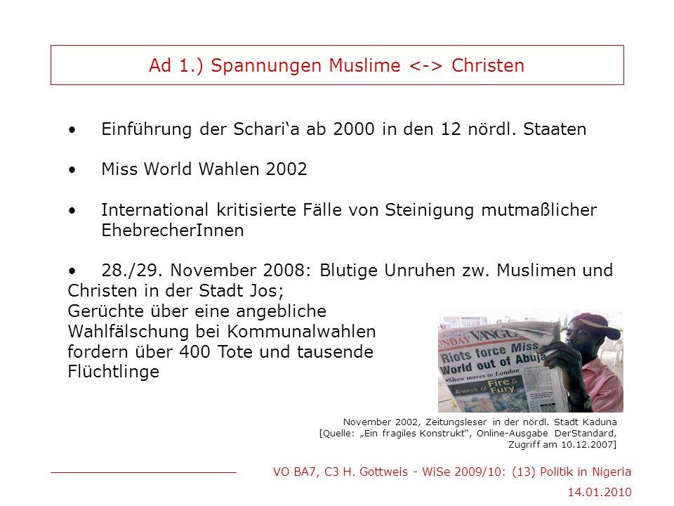 Ad 1.) Spannungen Muslime <-> Christen