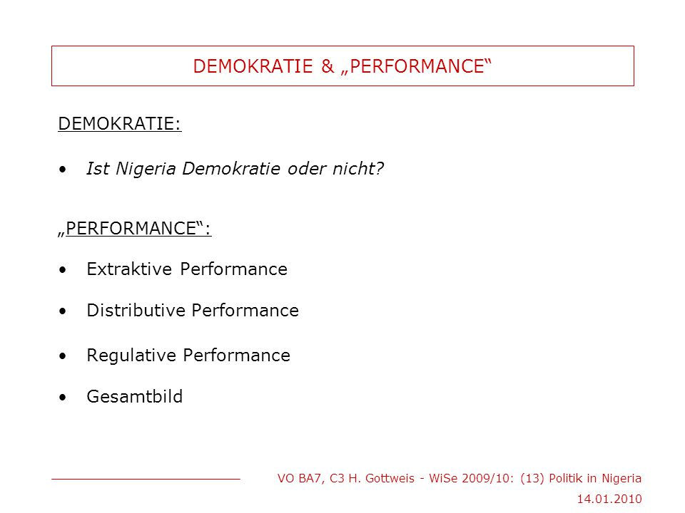 "DEMOKRATIE & ""PERFORMANCE"