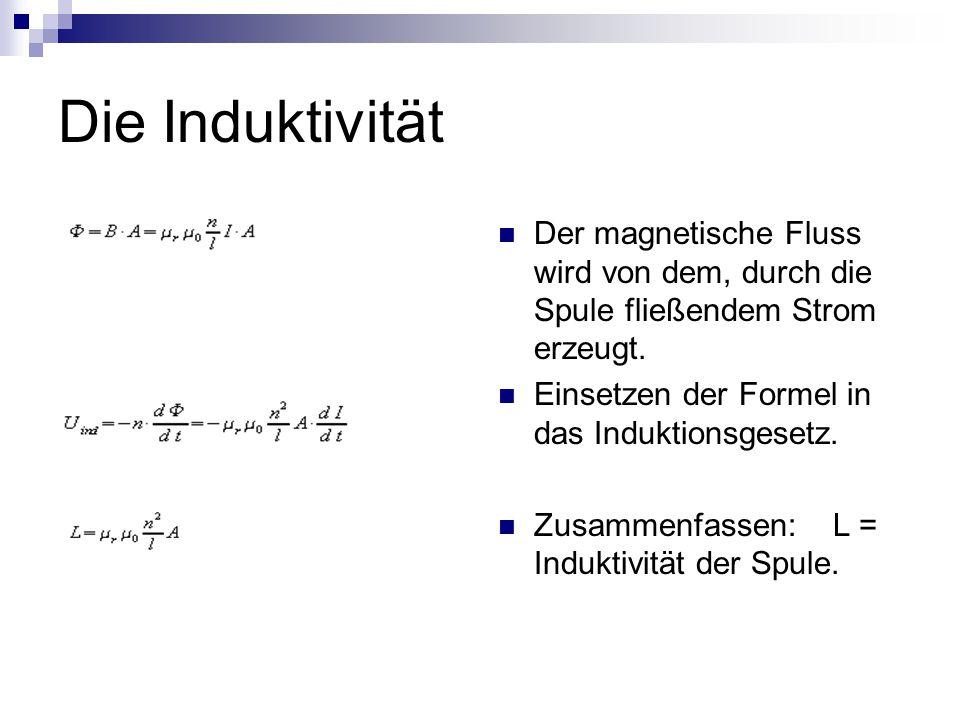 Die Induktivität Der magnetische Fluss wird von dem, durch die Spule fließendem Strom erzeugt. Einsetzen der Formel in das Induktionsgesetz.