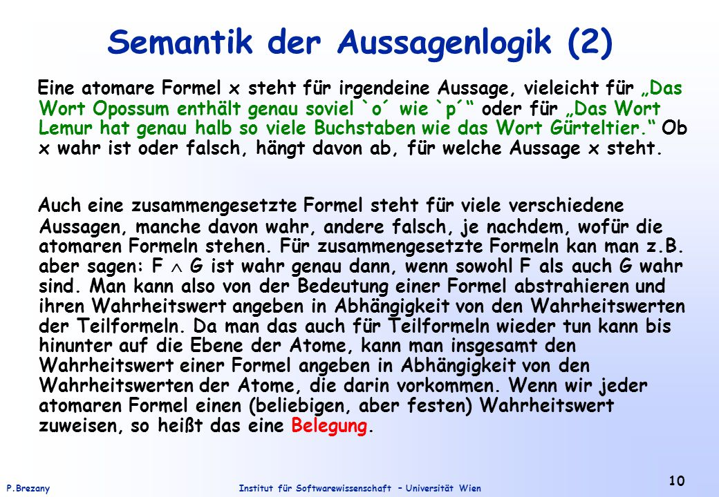 Semantik der Aussagenlogik (2)