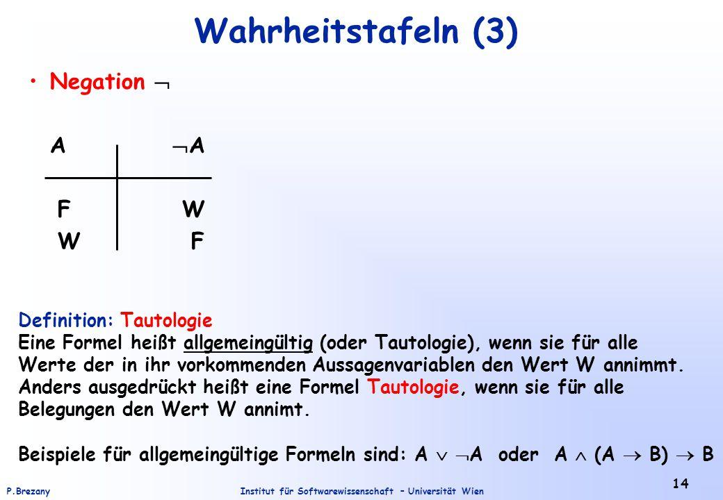 Wahrheitstafeln (3) Negation  A A F W W F Definition: Tautologie