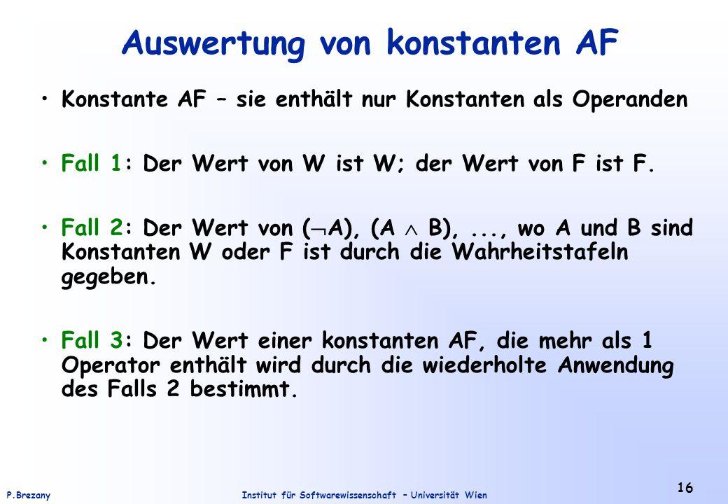 Auswertung von konstanten AF