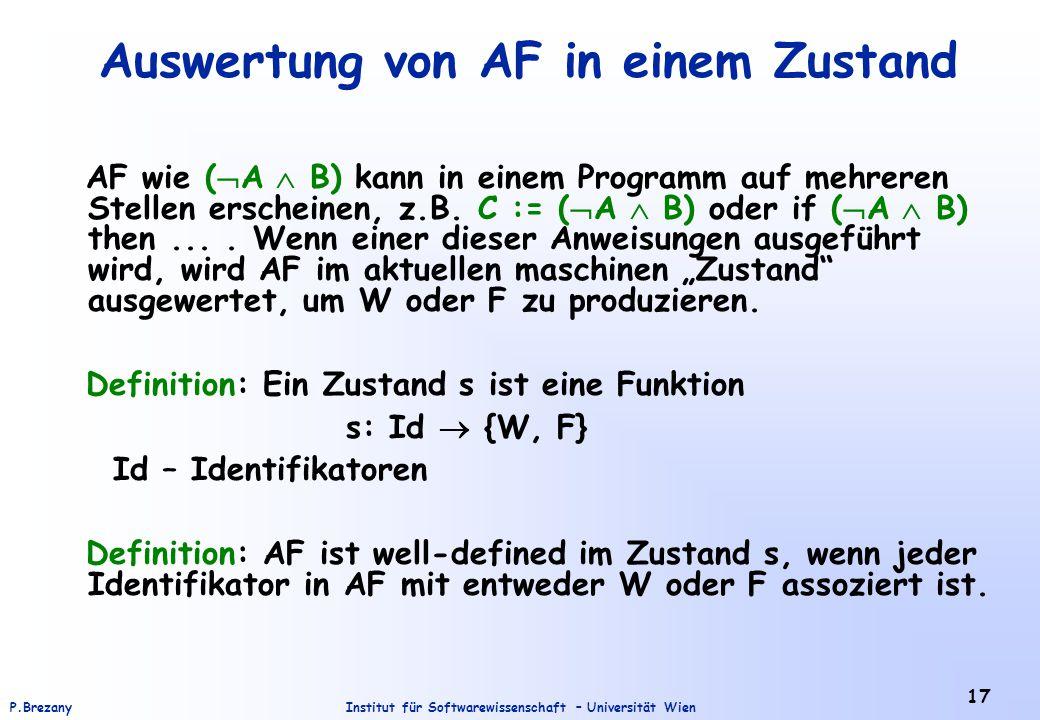 Auswertung von AF in einem Zustand