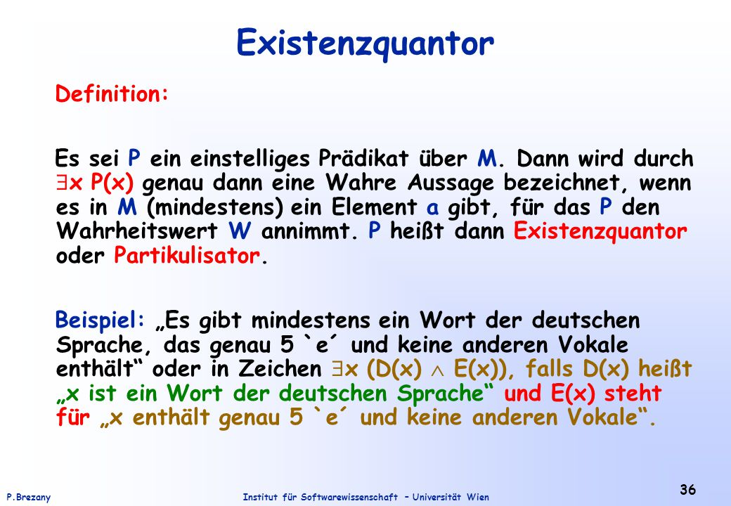 Existenzquantor Definition: