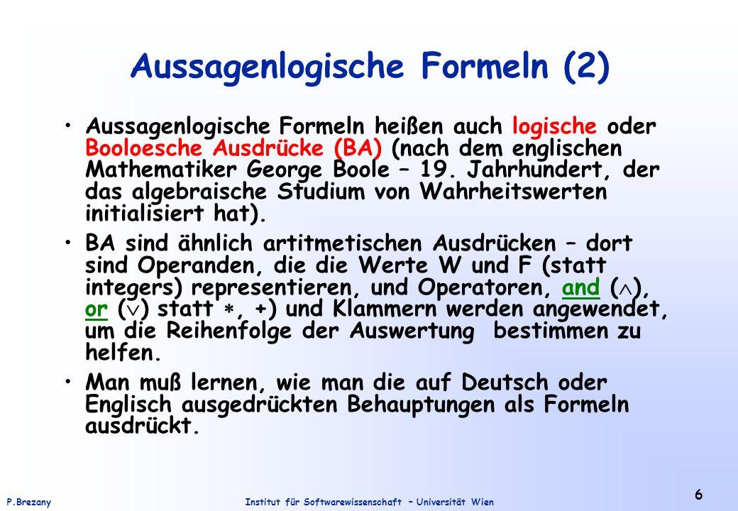 Aussagenlogische Formeln (2)