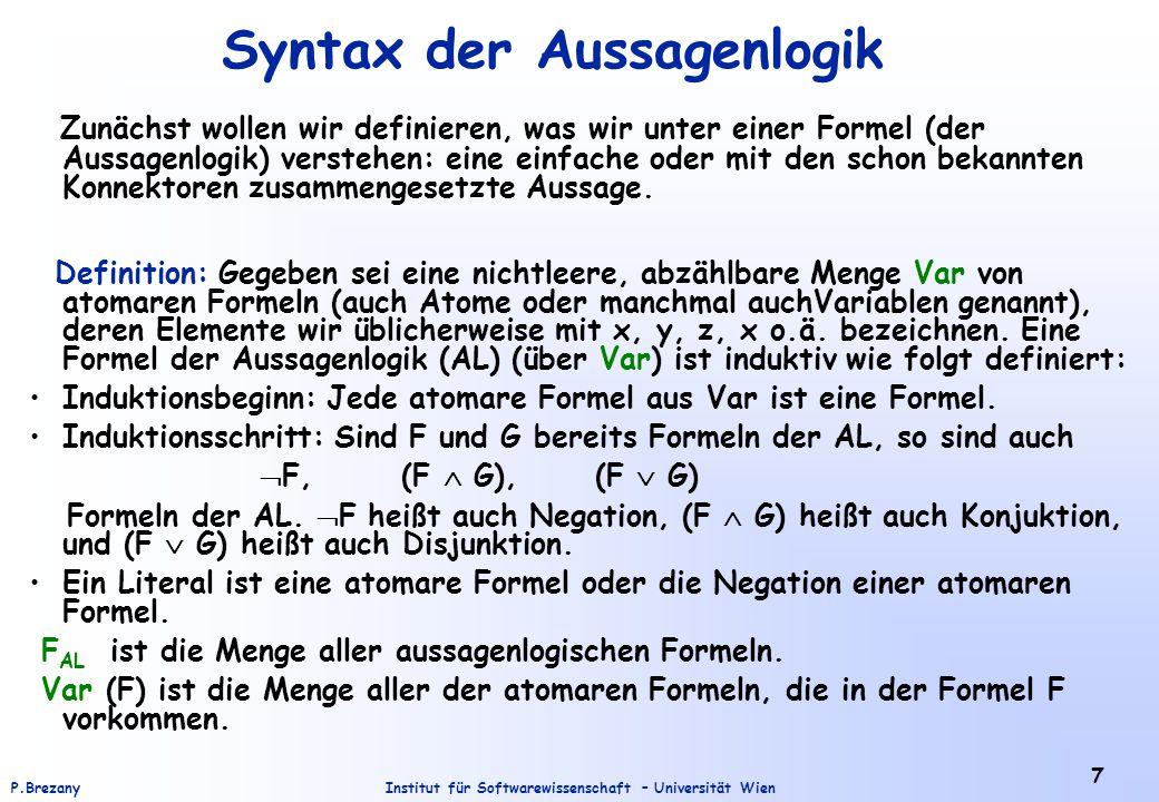 Syntax der Aussagenlogik