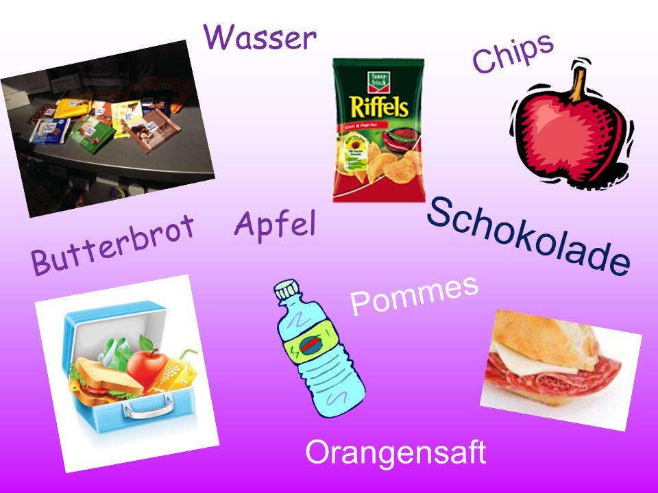 Wasser Chips Apfel Butterbrot Schokolade Pommes Orangensaft