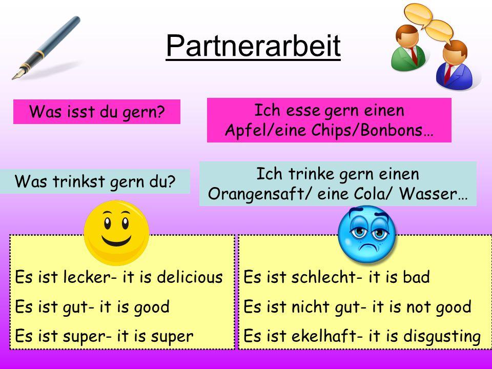 Partnerarbeit Was isst du gern