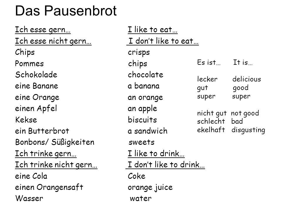 Das Pausenbrot Ich esse gern… I like to eat…