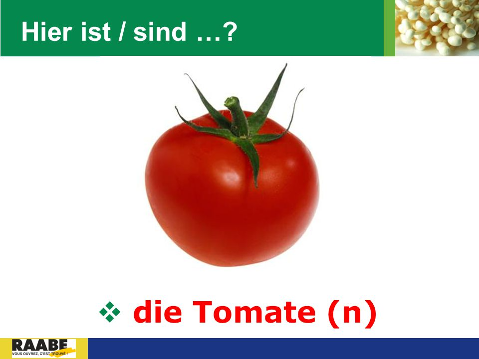 Hier ist / sind … die Tomate (n)