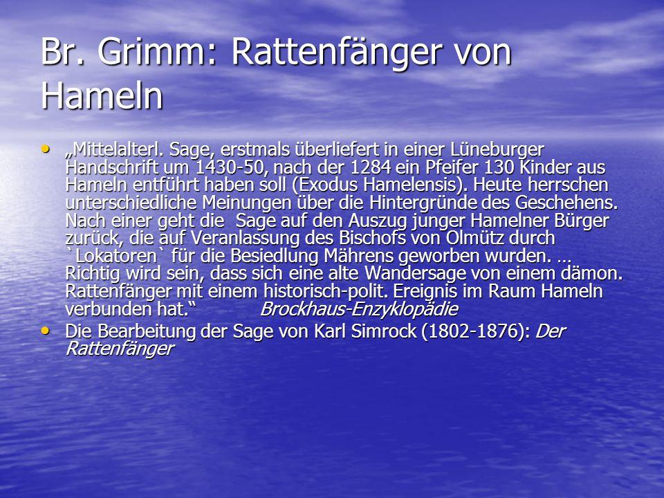 Br. Grimm: Rattenfänger von Hameln