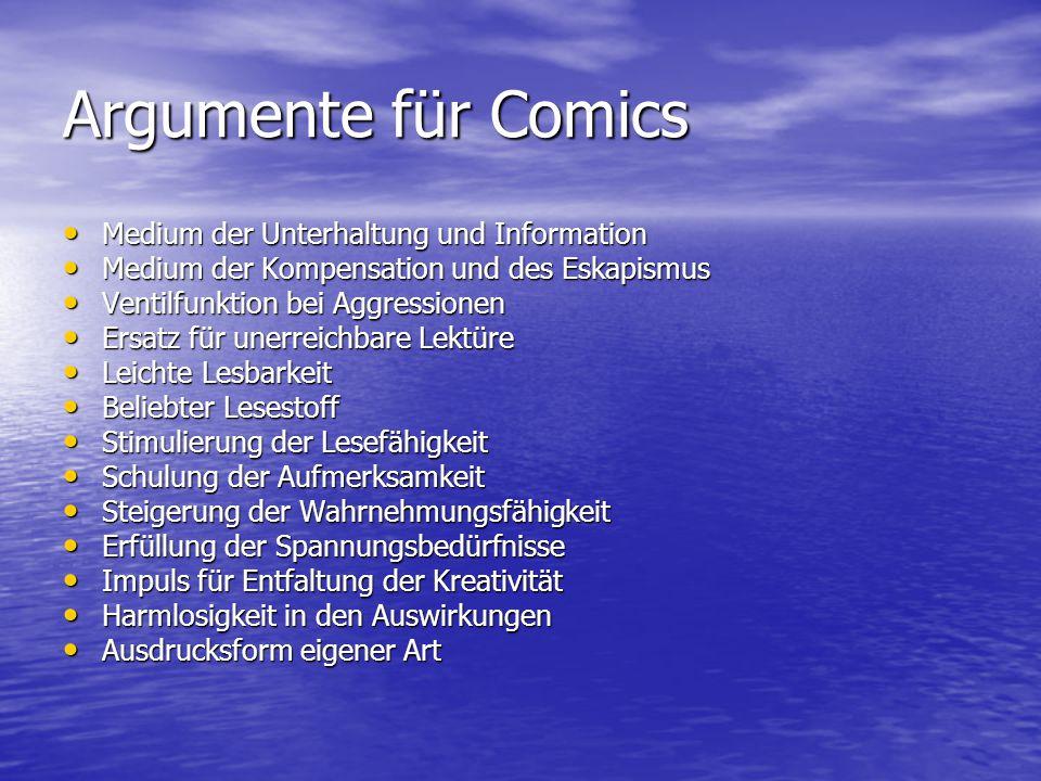 Argumente für Comics Medium der Unterhaltung und Information