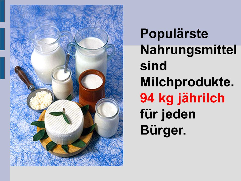 Populärste Nahrungsmittel sind Milchprodukte