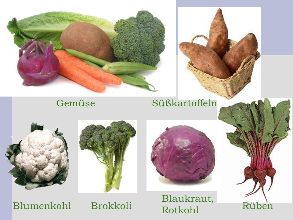 Gemüse Süßkartoffeln Blaukraut, Rotkohl Blumenkohl Brokkoli Rüben 7