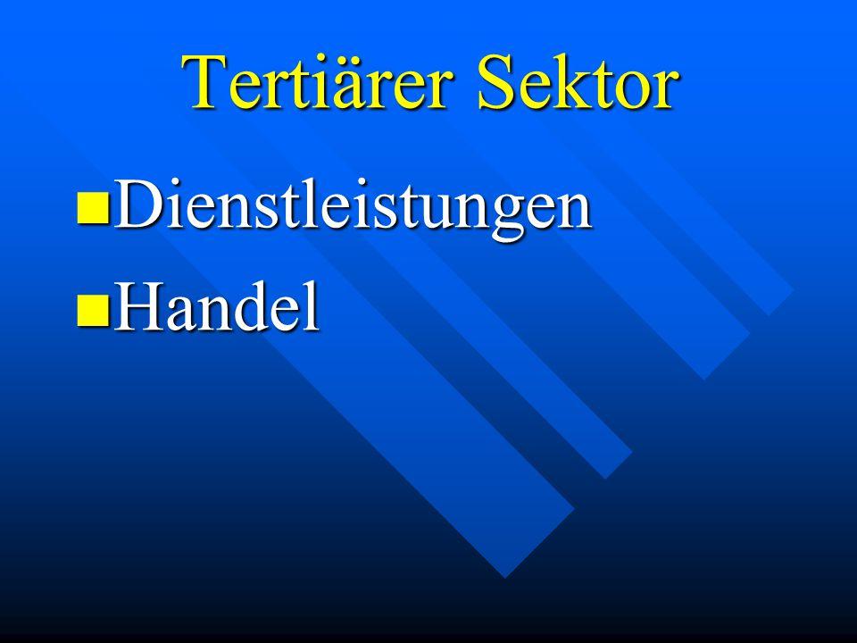 Tertiärer Sektor Dienstleistungen Handel