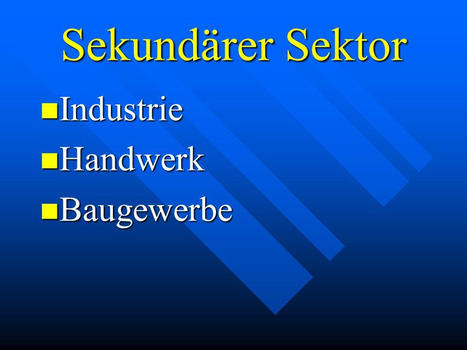 Sekundärer Sektor Industrie Handwerk Baugewerbe