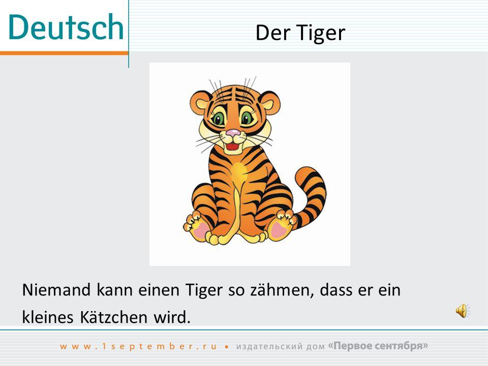 Der Tiger Niemand kann einen Tiger so zähmen, dass er ein