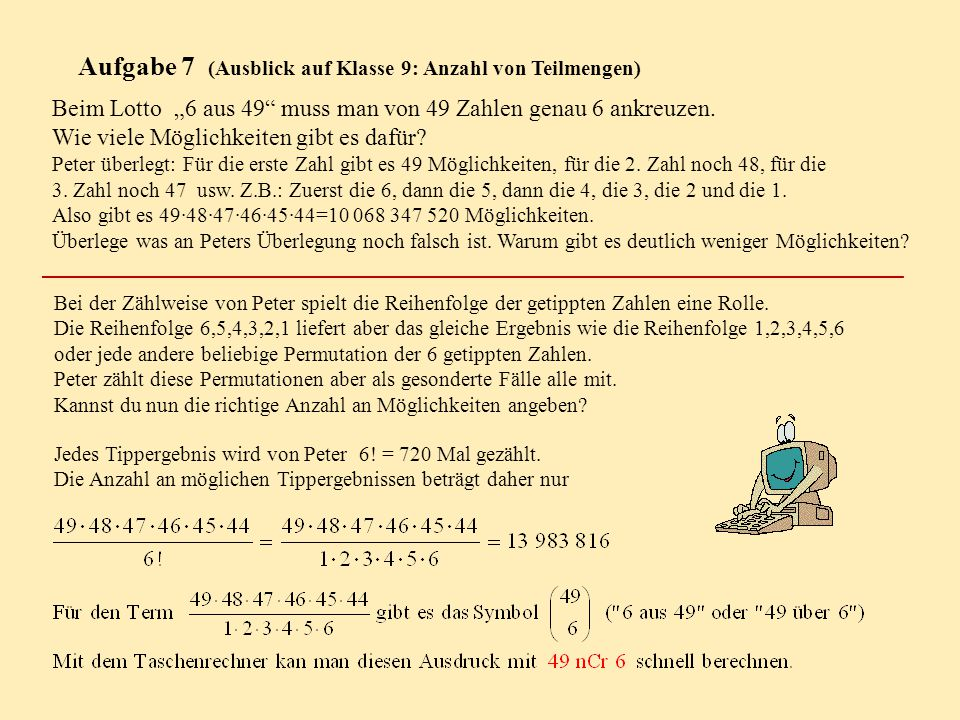 Aufgabe 7 (Ausblick auf Klasse 9: Anzahl von Teilmengen)