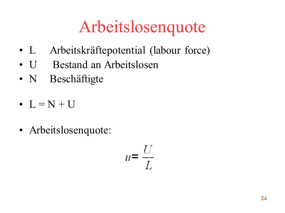 Arbeitslosenquote L Arbeitskräftepotential (labour force)‏