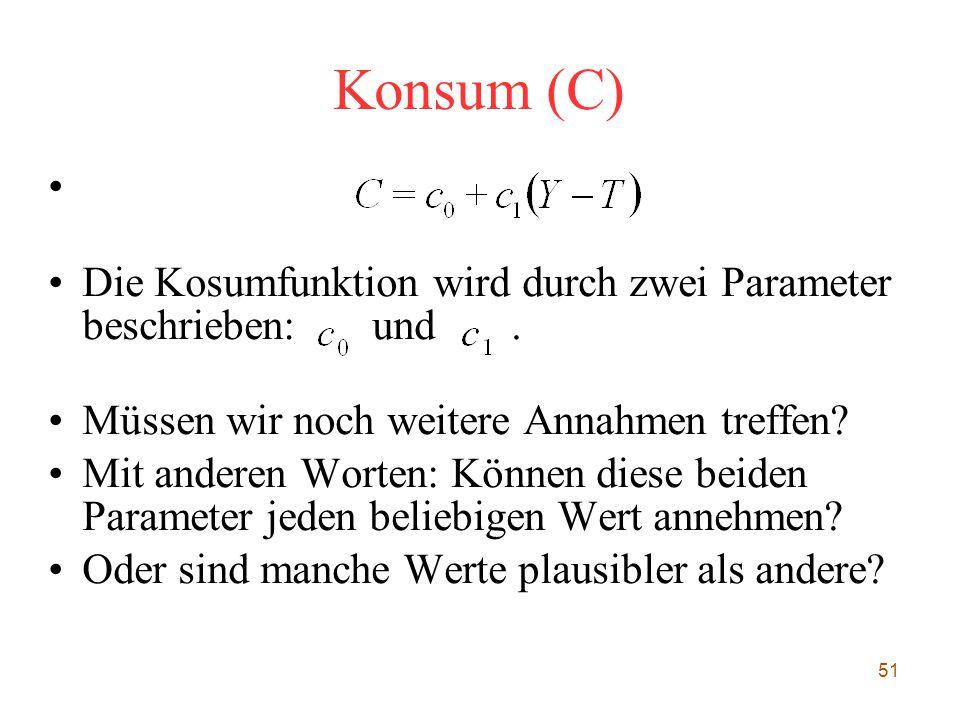 Konsum (C) Die Kosumfunktion wird durch zwei Parameter beschrieben: und . Müssen wir noch weitere Annahmen treffen